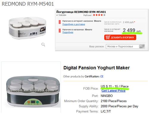 Сравнение цен с китайским прибором, похожим на прибор Redmond